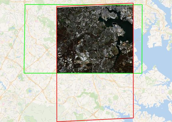 Overlapping area of WorldView 2 images after the intersection task