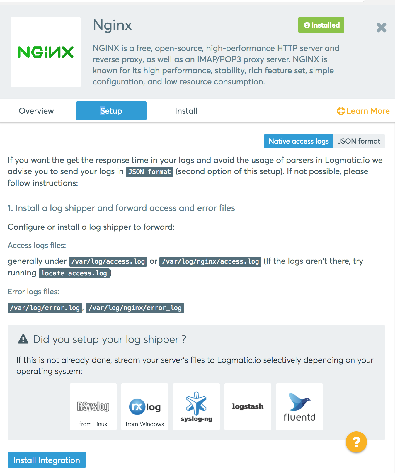 NGINX: Native access logs setup