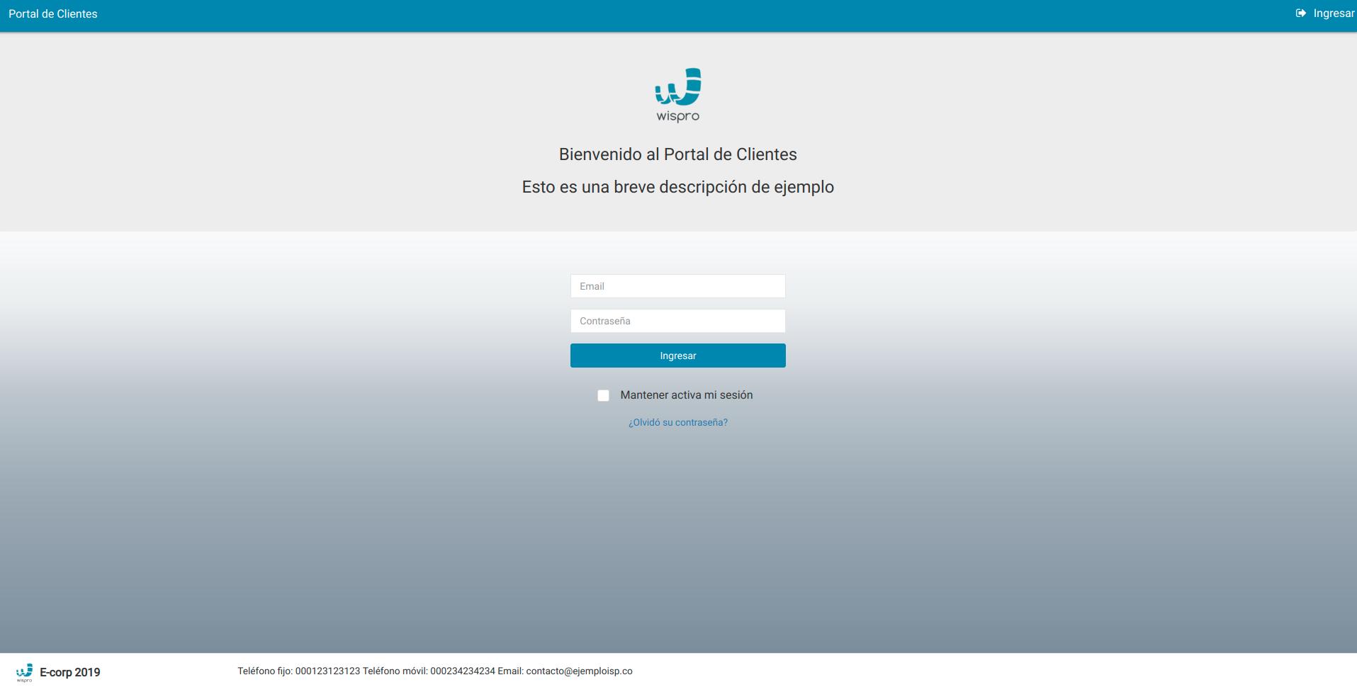 Pantalla de inicio de sesión del Portal de Clientes - Vista general
