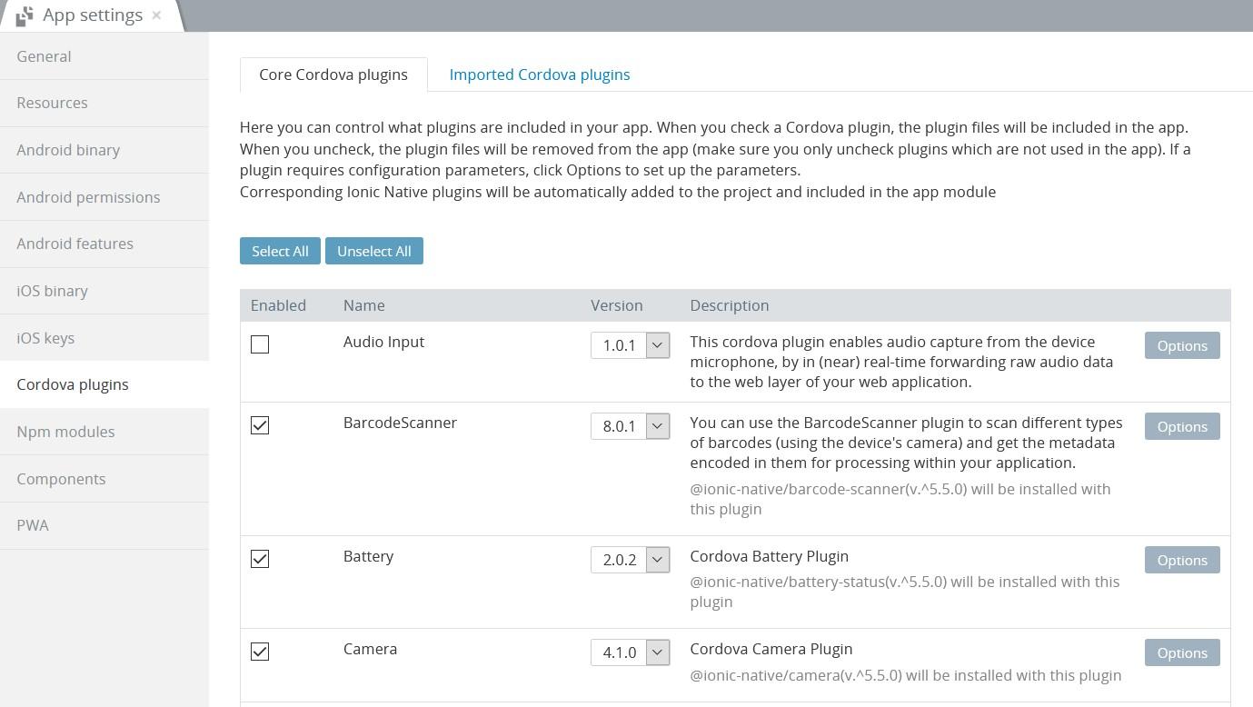 Core Cordova plugins