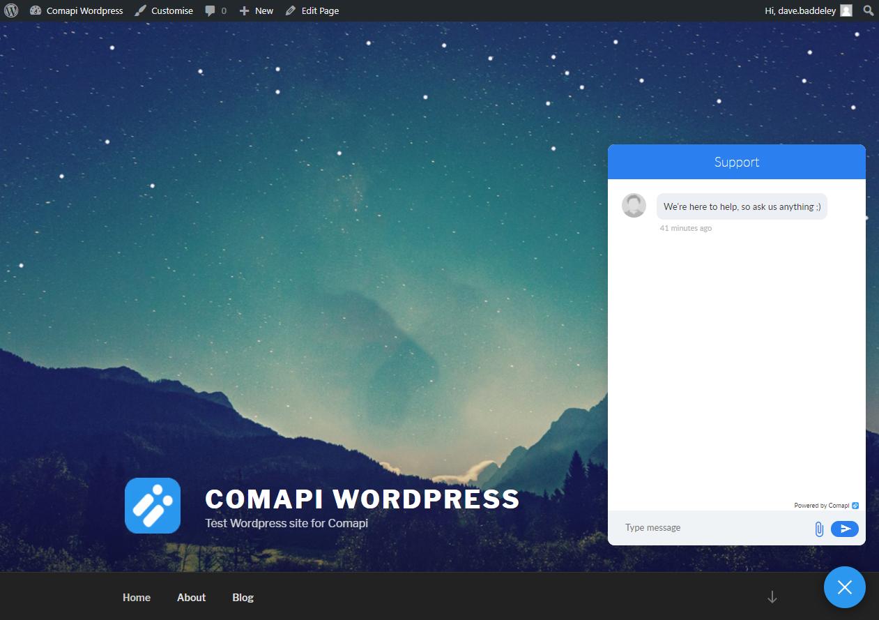 Comapi's Webchat widget running in a Wordpress site