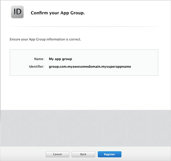 Confirm App Group
