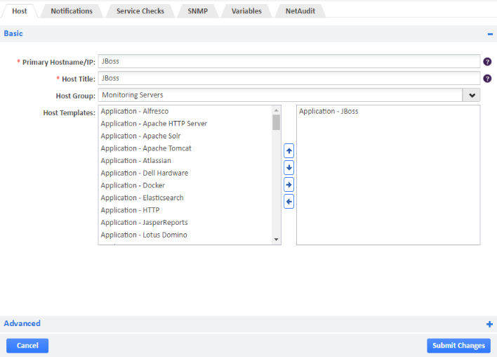 Example of JBoss Host Template