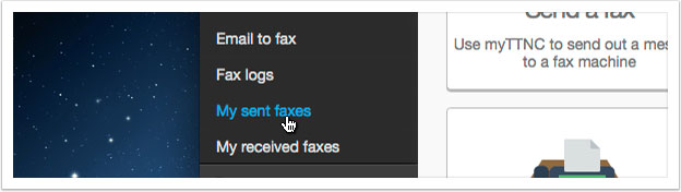 Select either `My sent faxes` or `My received faxes`.