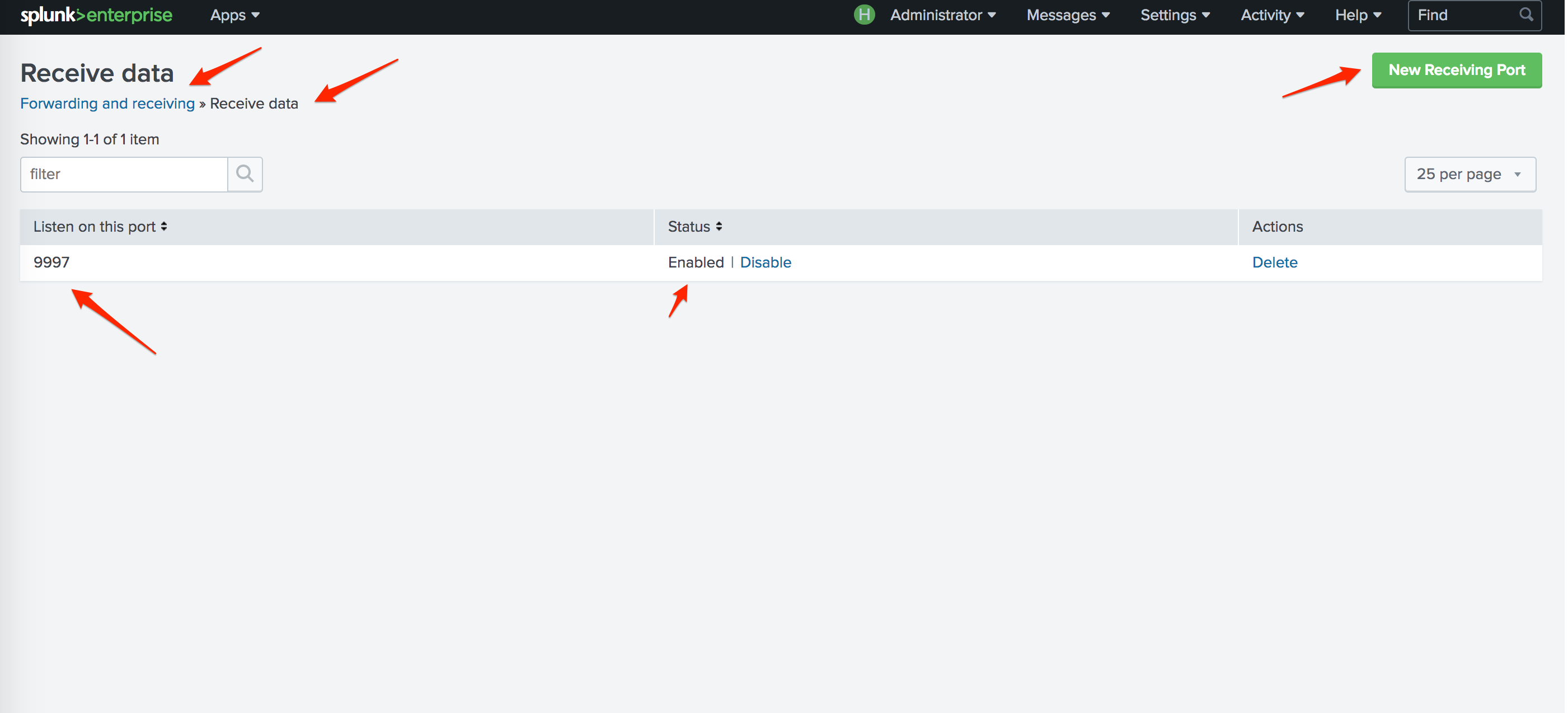 Enabling a receiver port in Splunk Application.