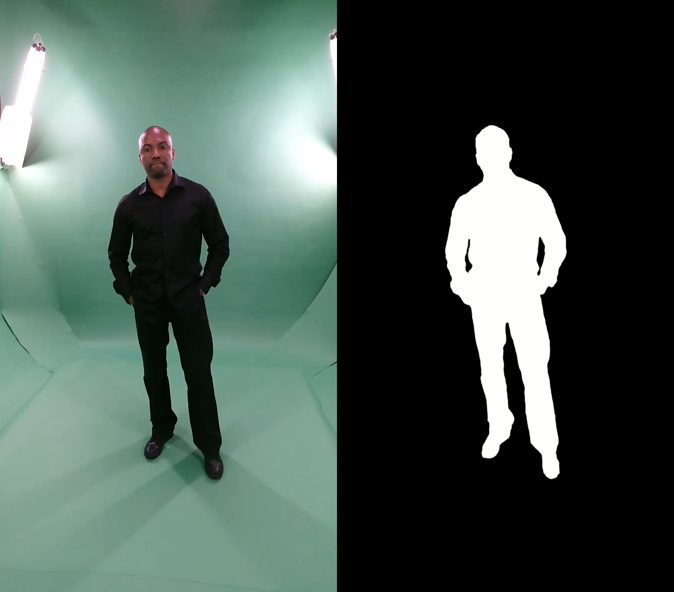 Source color video (left), Custom refinement mask (right)
