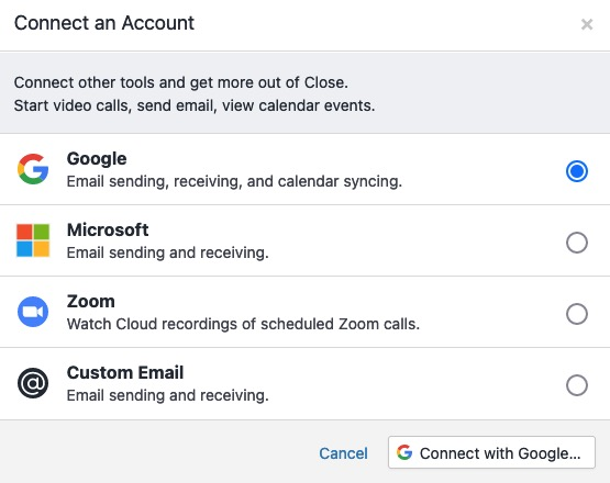 Selecting your email provider