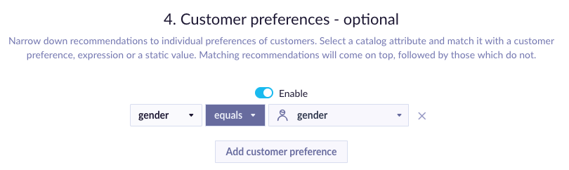 Example of Customer Preferences picker