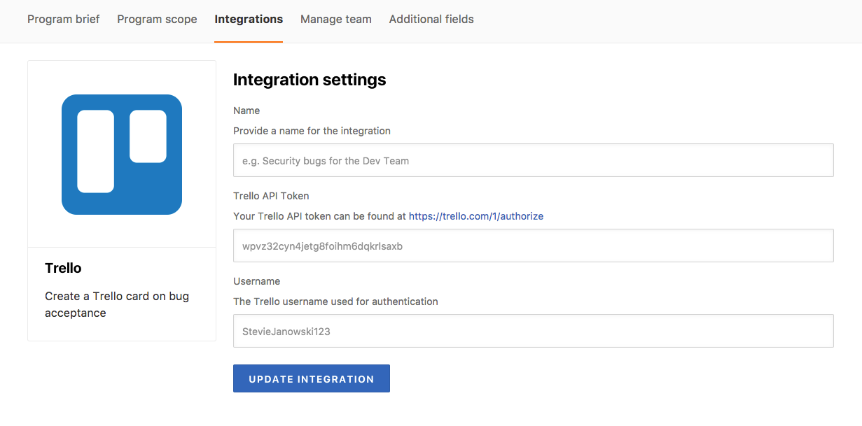 Trello integration settings