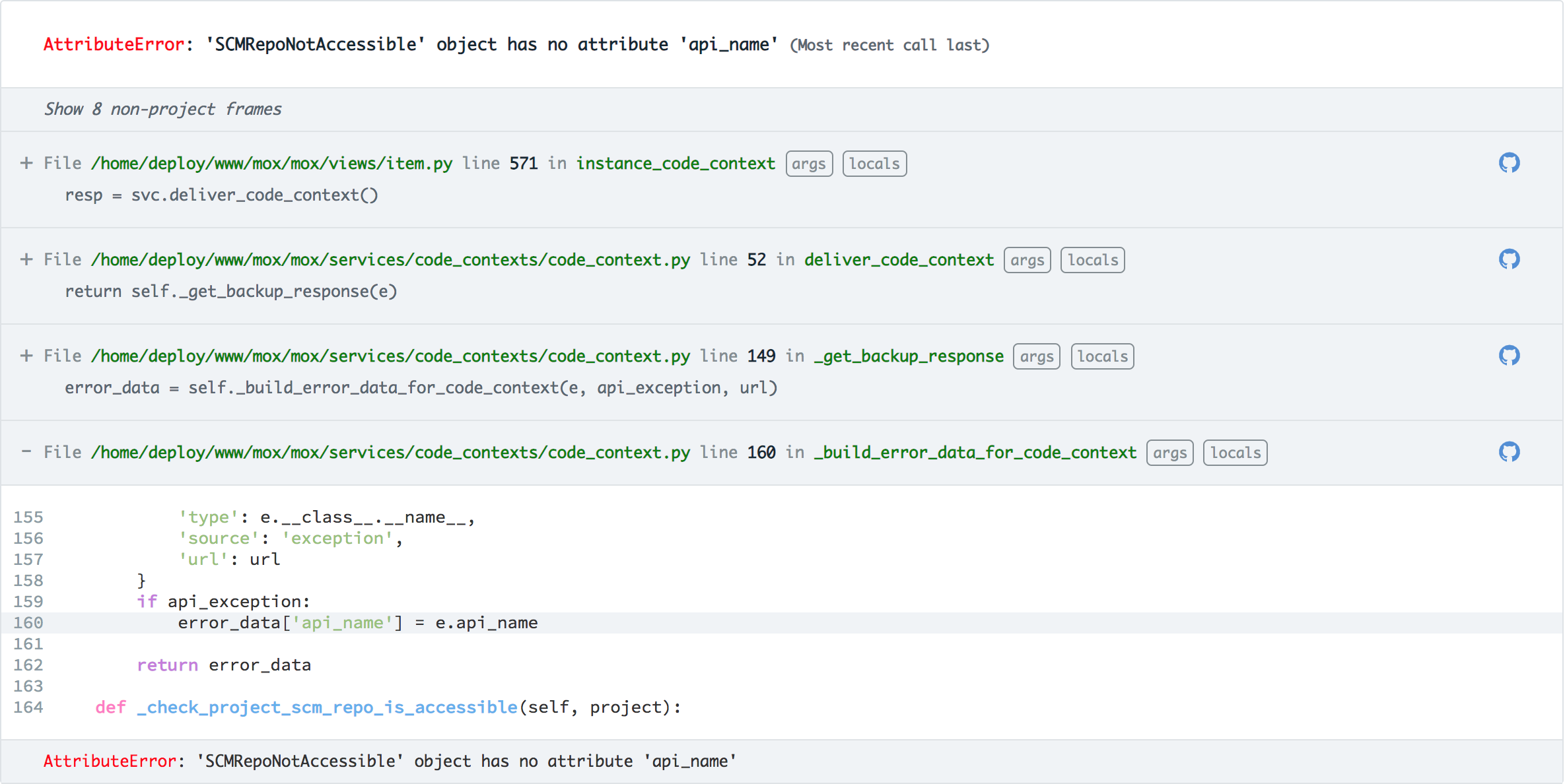 A python stacktrace with Github integration shows code context in  each frame.