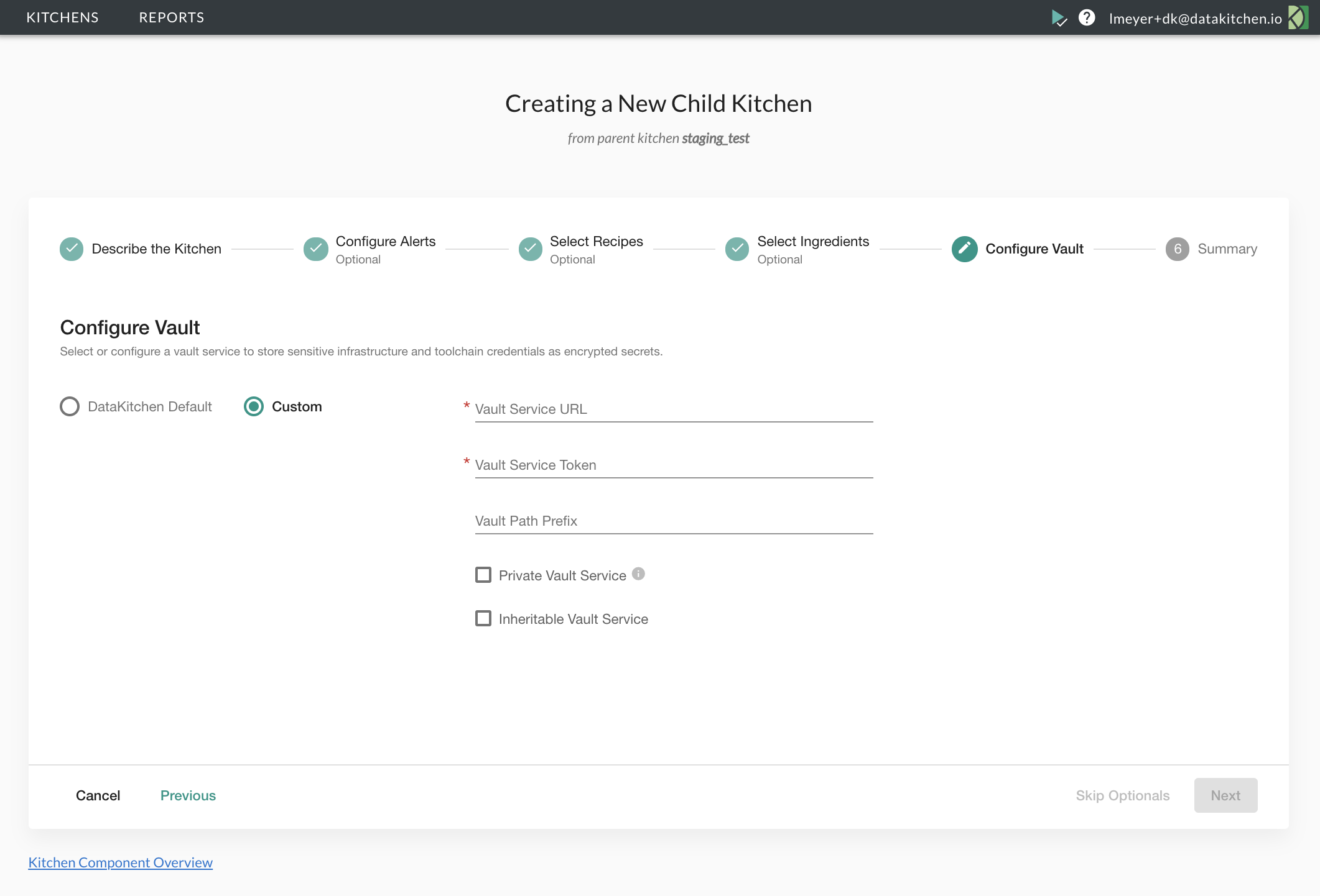 The connection settings for a custom kitchen vault.