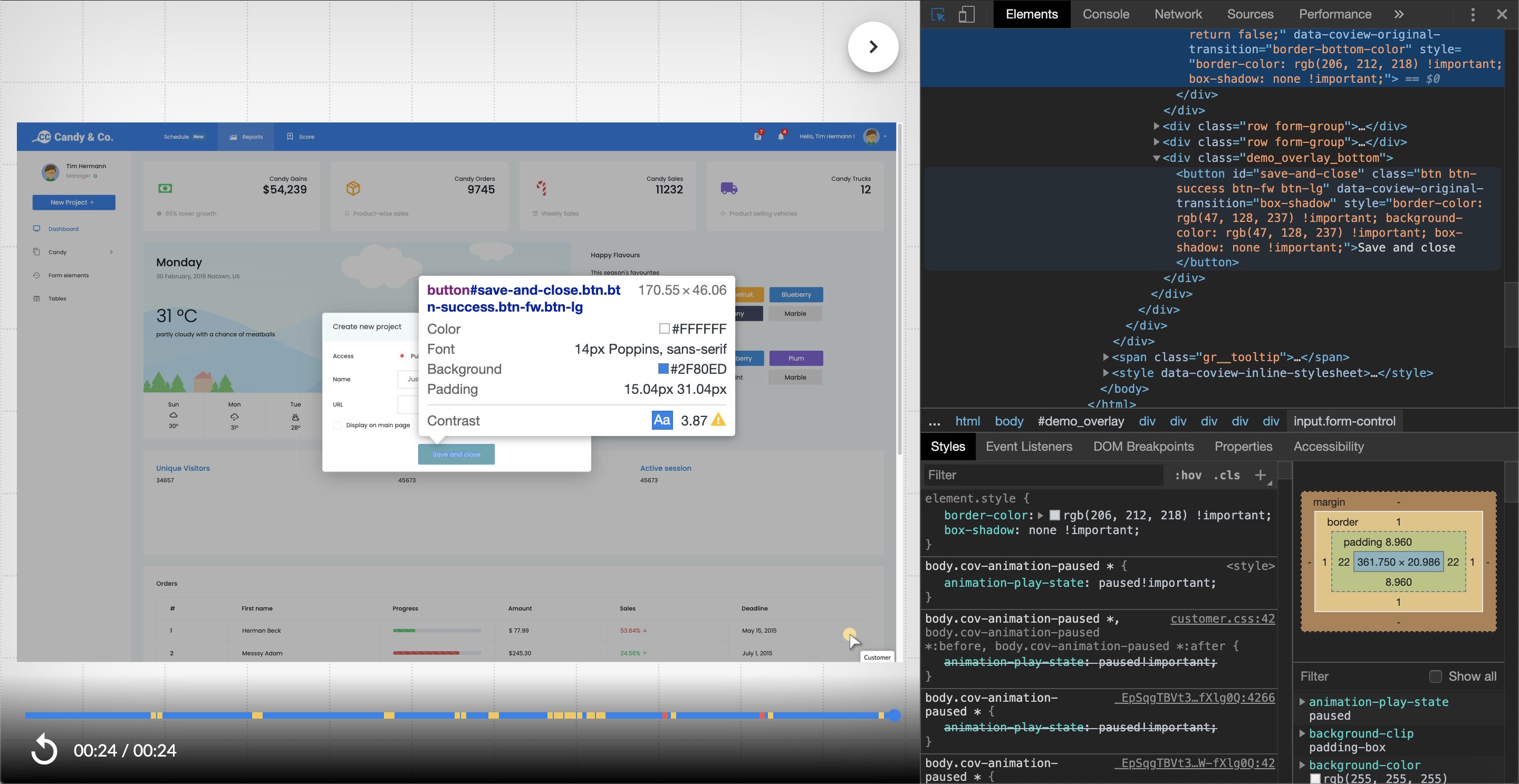 Inspecting the recording with browser's devtools.