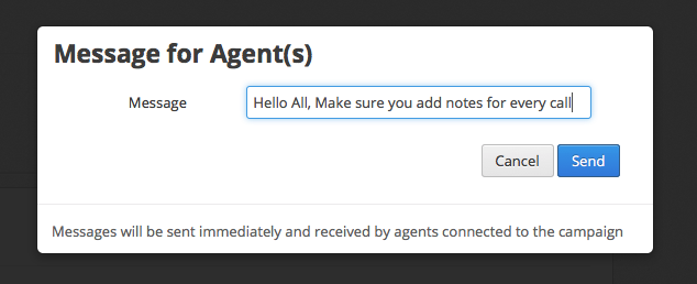 Send message to agents from manager account on CallHub
