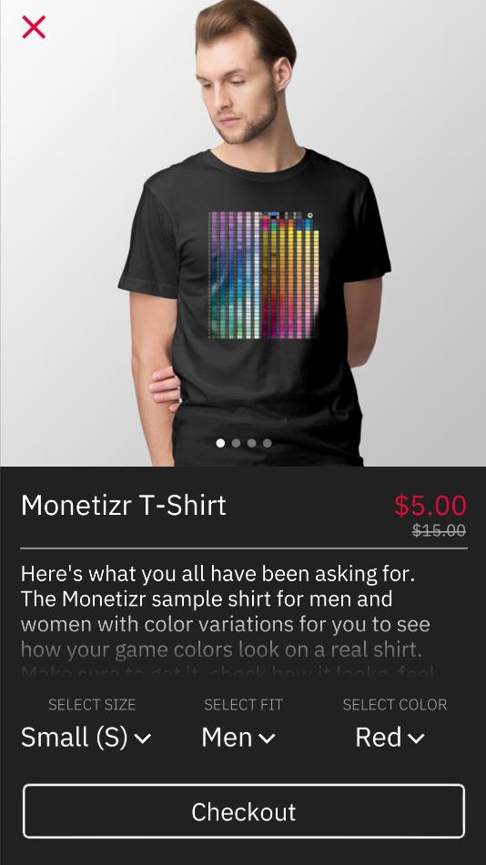 Product page using default dark color scheme