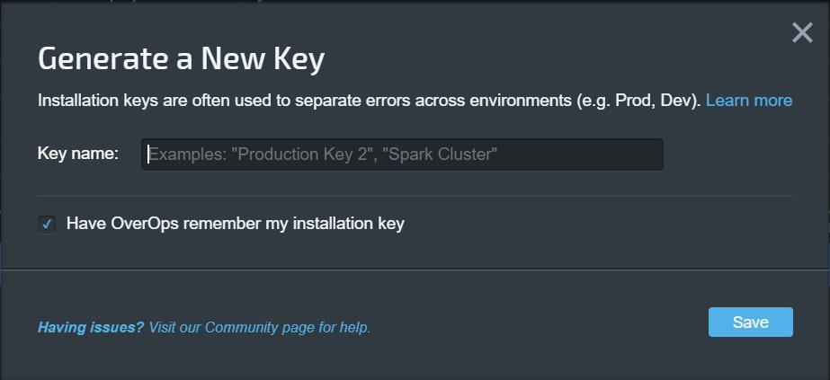 Generate new key dialog box