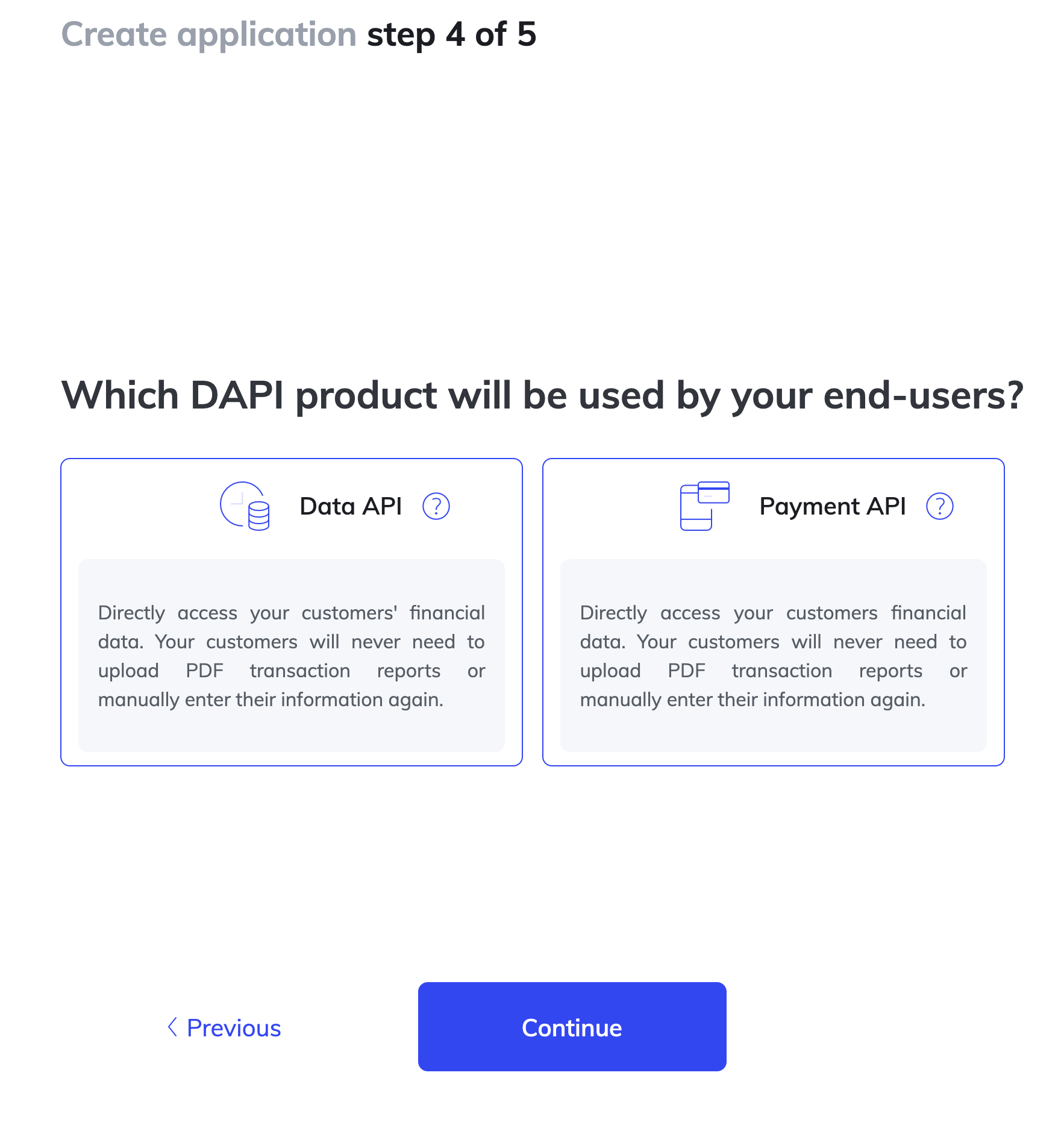 Product Selection Screen