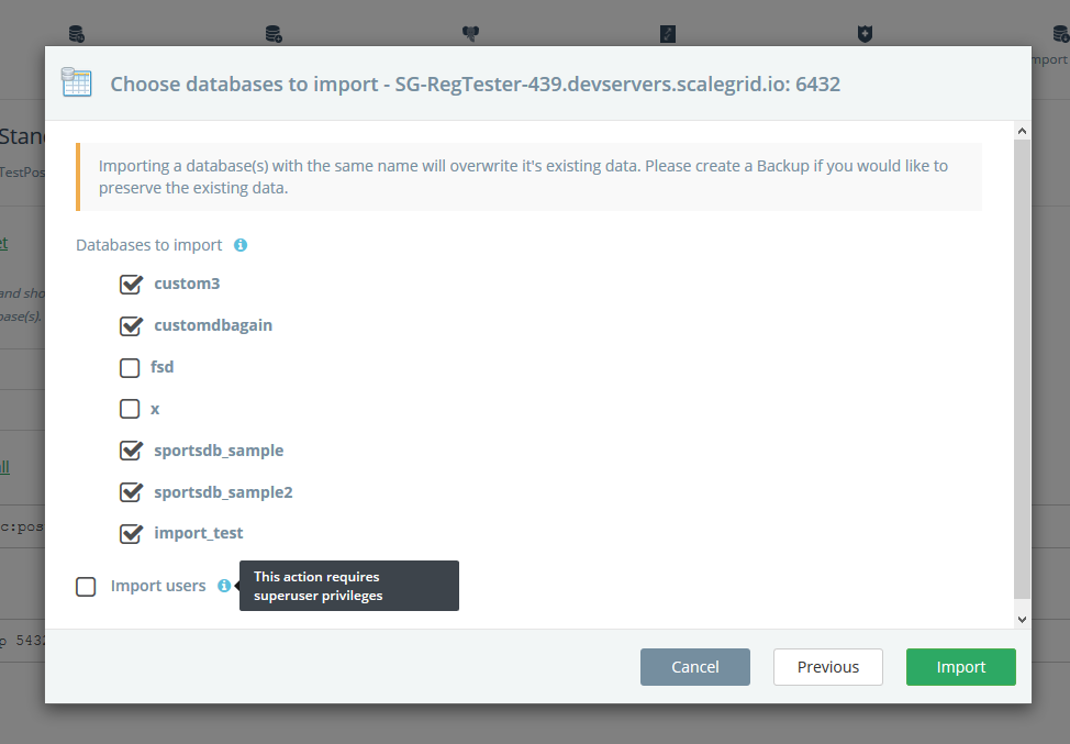 Select databases to import