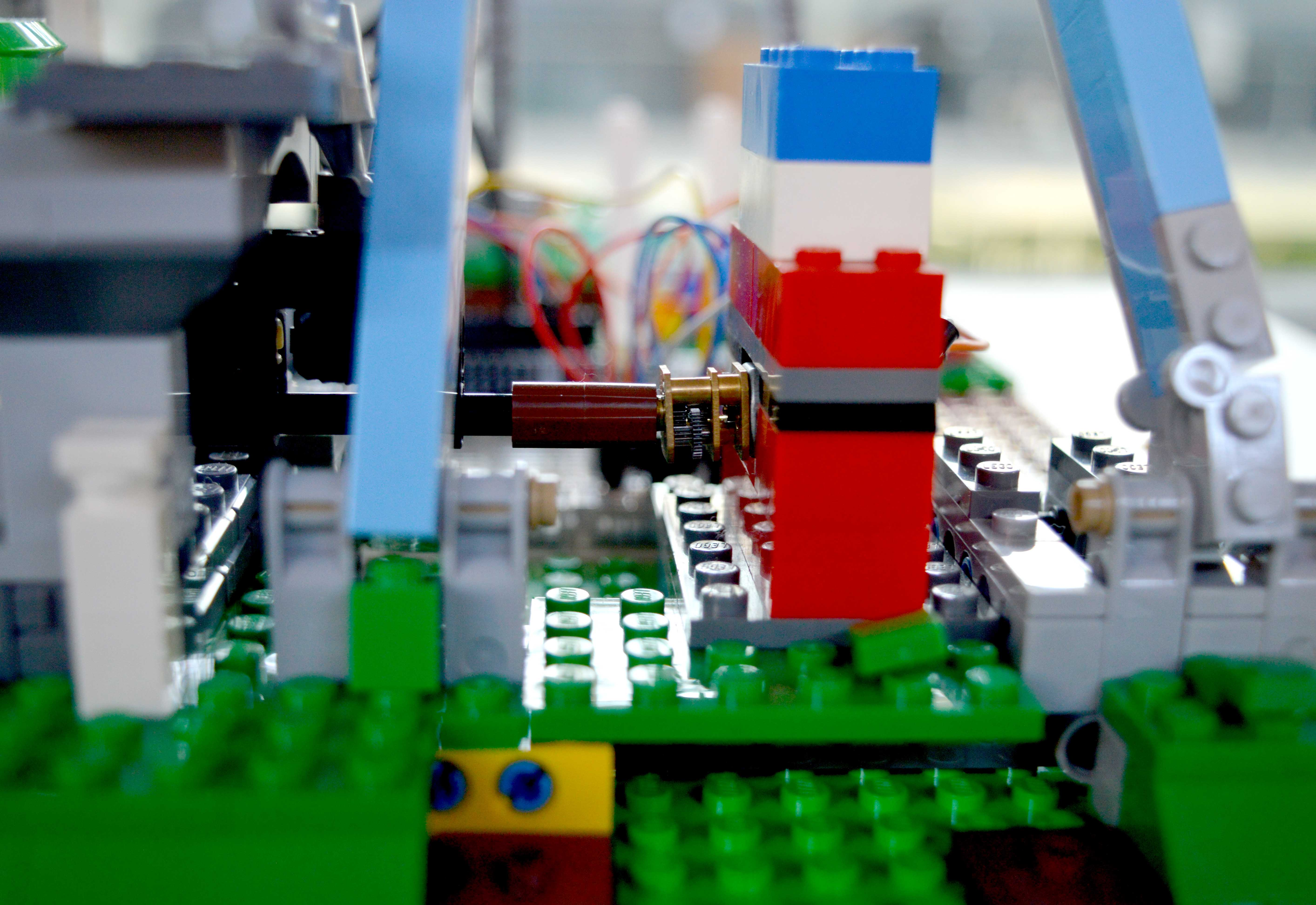 How We Built Our Facial Recognition Ferris Wheel Wia Community Wiring Diagram So A Little Lego Enclosure For The Motor Out Of Spare Pieces Leaving Space At Back Connecting Wires To Motors Terminals