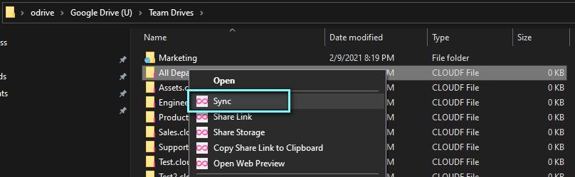 *Windows right-click->sync example*