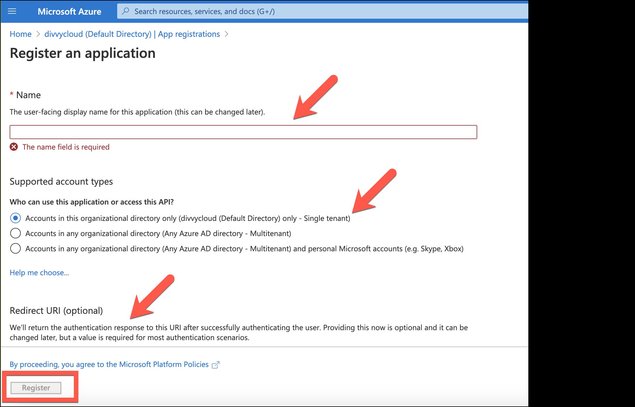 Azure - App Registration Form