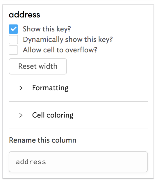 The `address` column options.