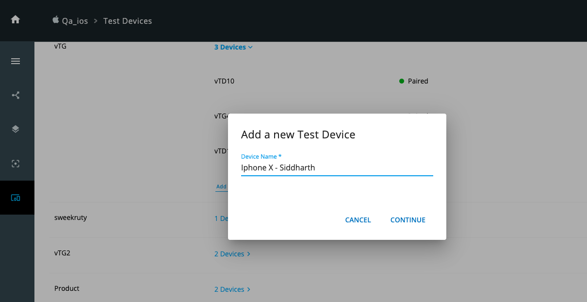 Enter device name and ID