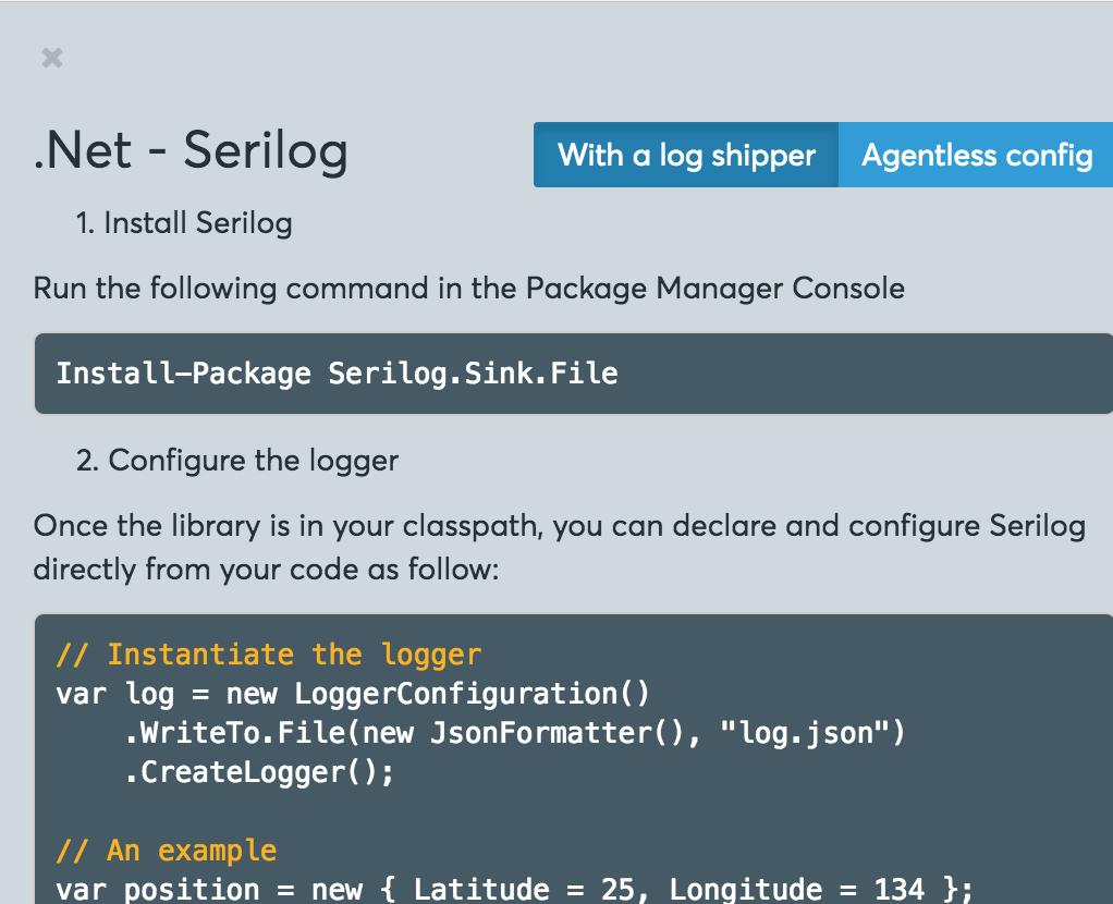 Serilog integration