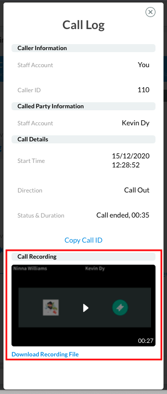 Call log with video file recording