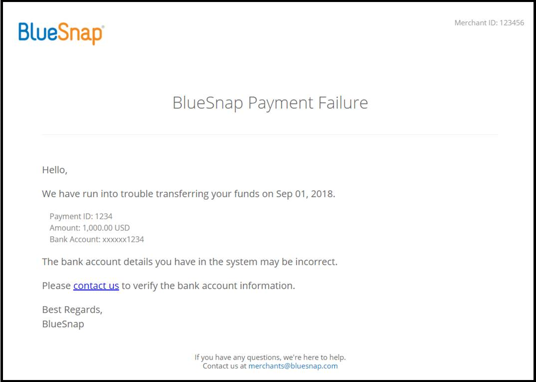 Payout Wiring Money With Bank Of America Send To Accounting Email Address Admin Subject Bluesnap Payment Failure