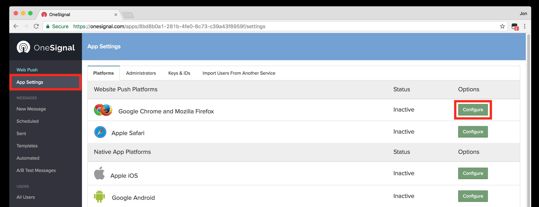 Configurar los settings para OneSignal | abr4xas.org