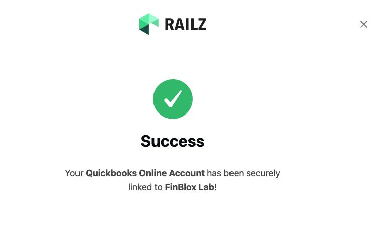 Railz Connect - Success Landing Page. Click to Expand.