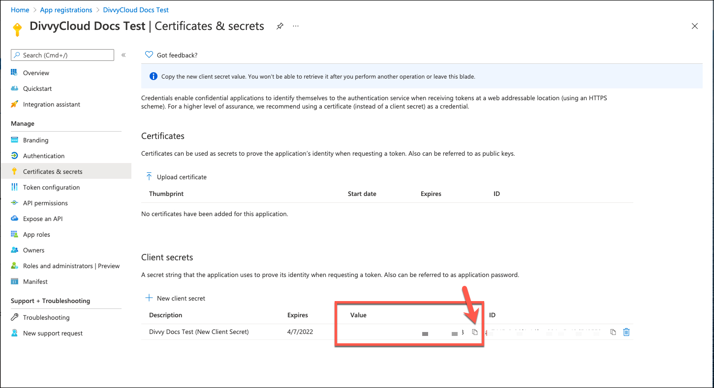 Azure Portal - Copy Secret Value