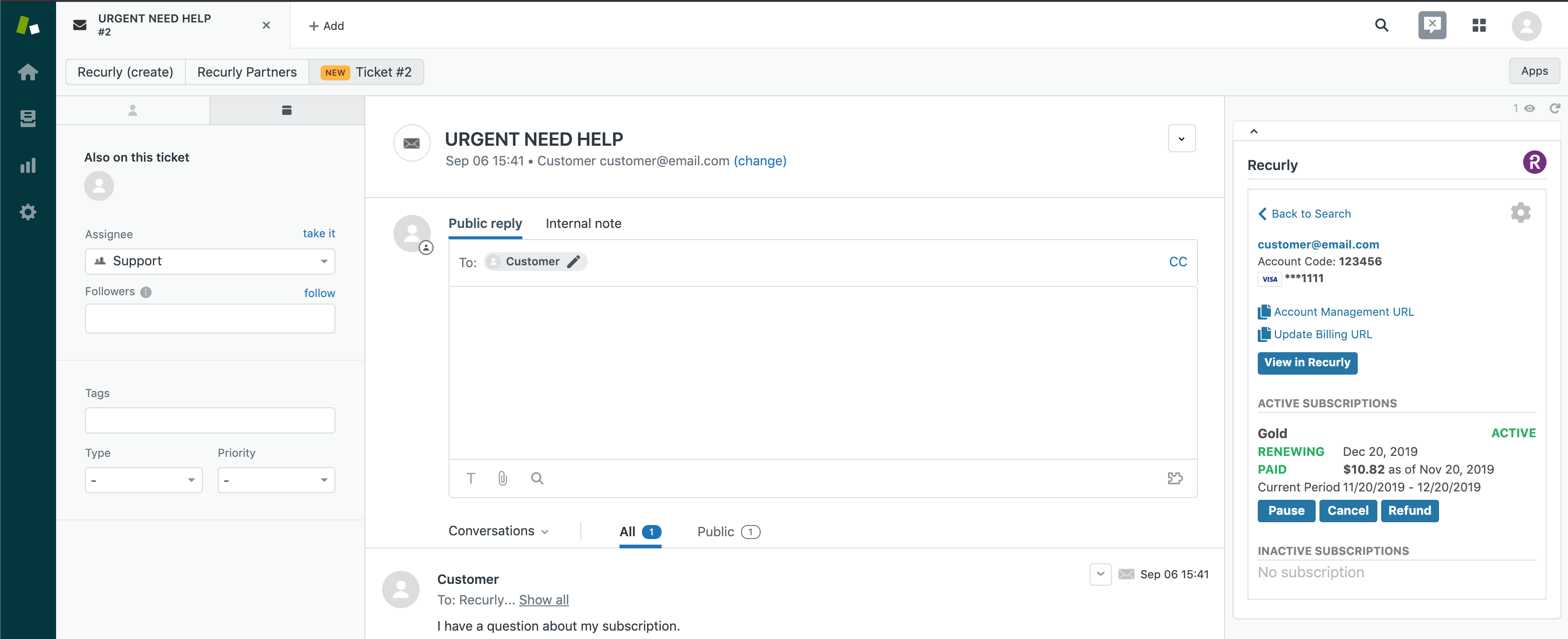 Interact with Recurly data directly in Zendesk and view the information your customers expect you to know