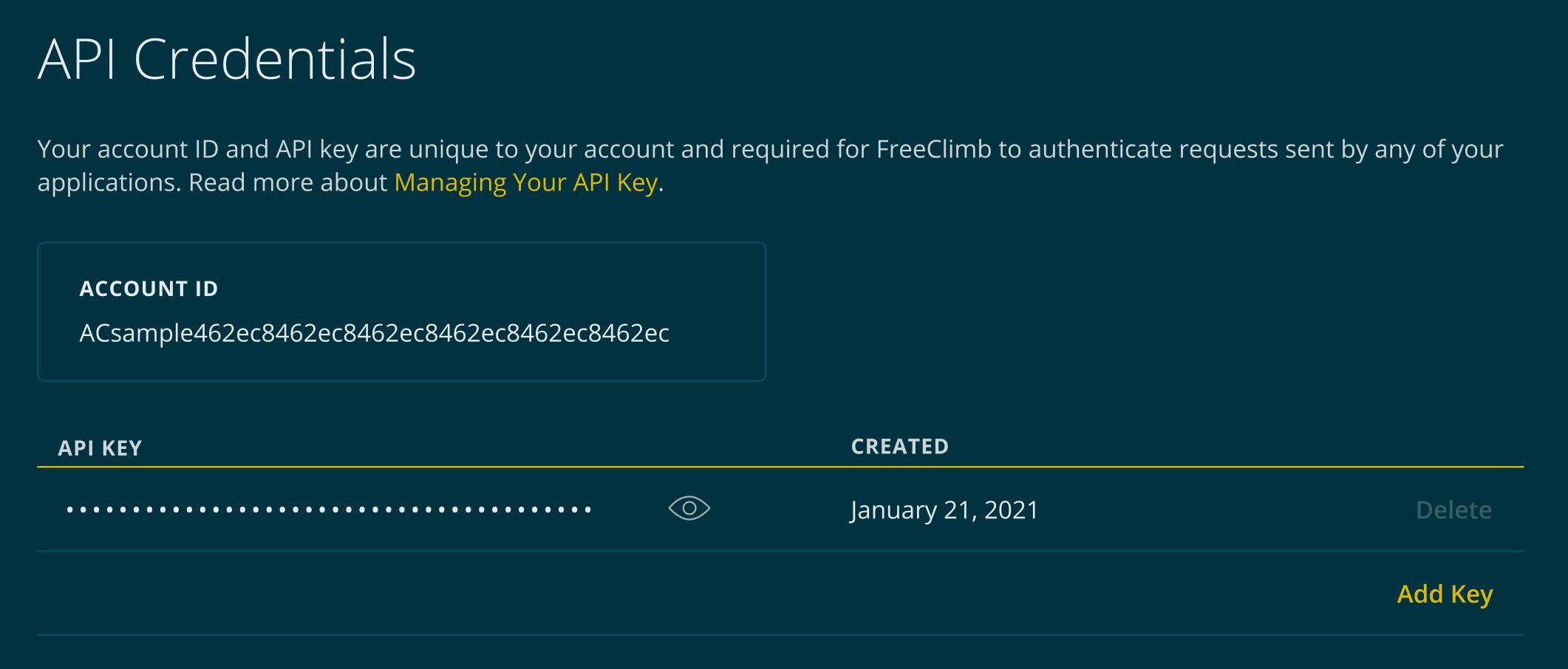 The API credentials page contains both your account ID and API key(s)