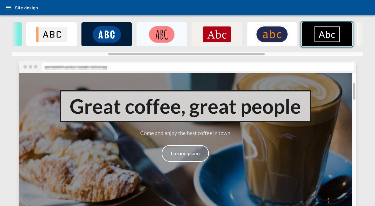 Site design page