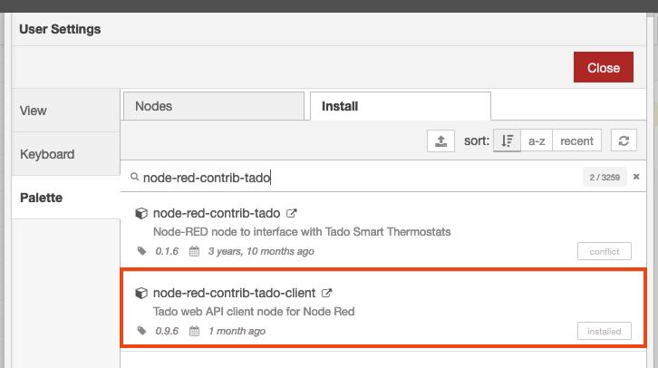 """You should install """"node-red-contrib-tado-client""""."""