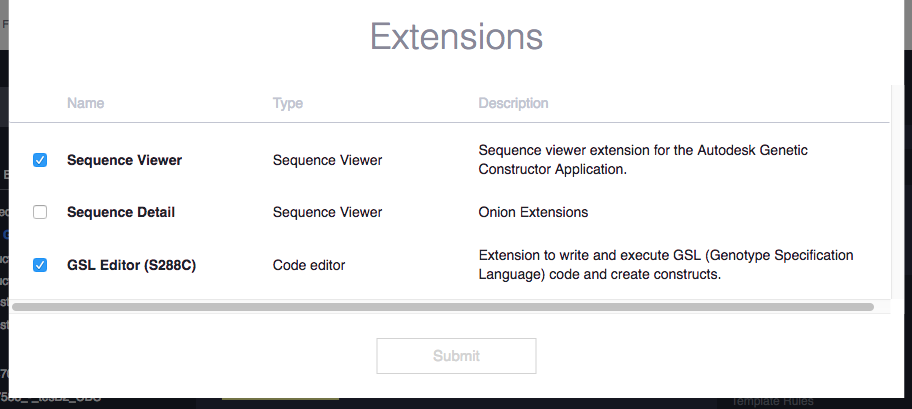 ... select the currently active extensions. These settings are saved across sessions.