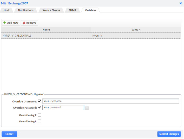 Example of Configuring Login Variables