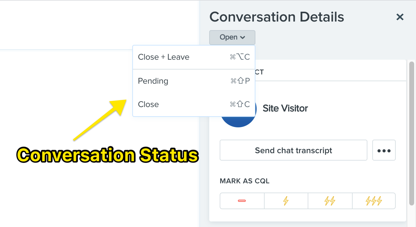 Changing a conversation's status from the Drift conversations view.