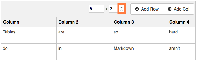 Change count to add/delete rows (or columns)