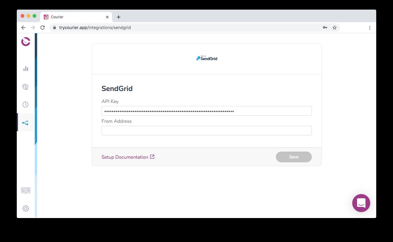 Add a SendGrid API Key to Courier