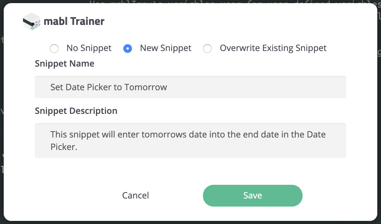 Options for saving a JavaScript Snippet.