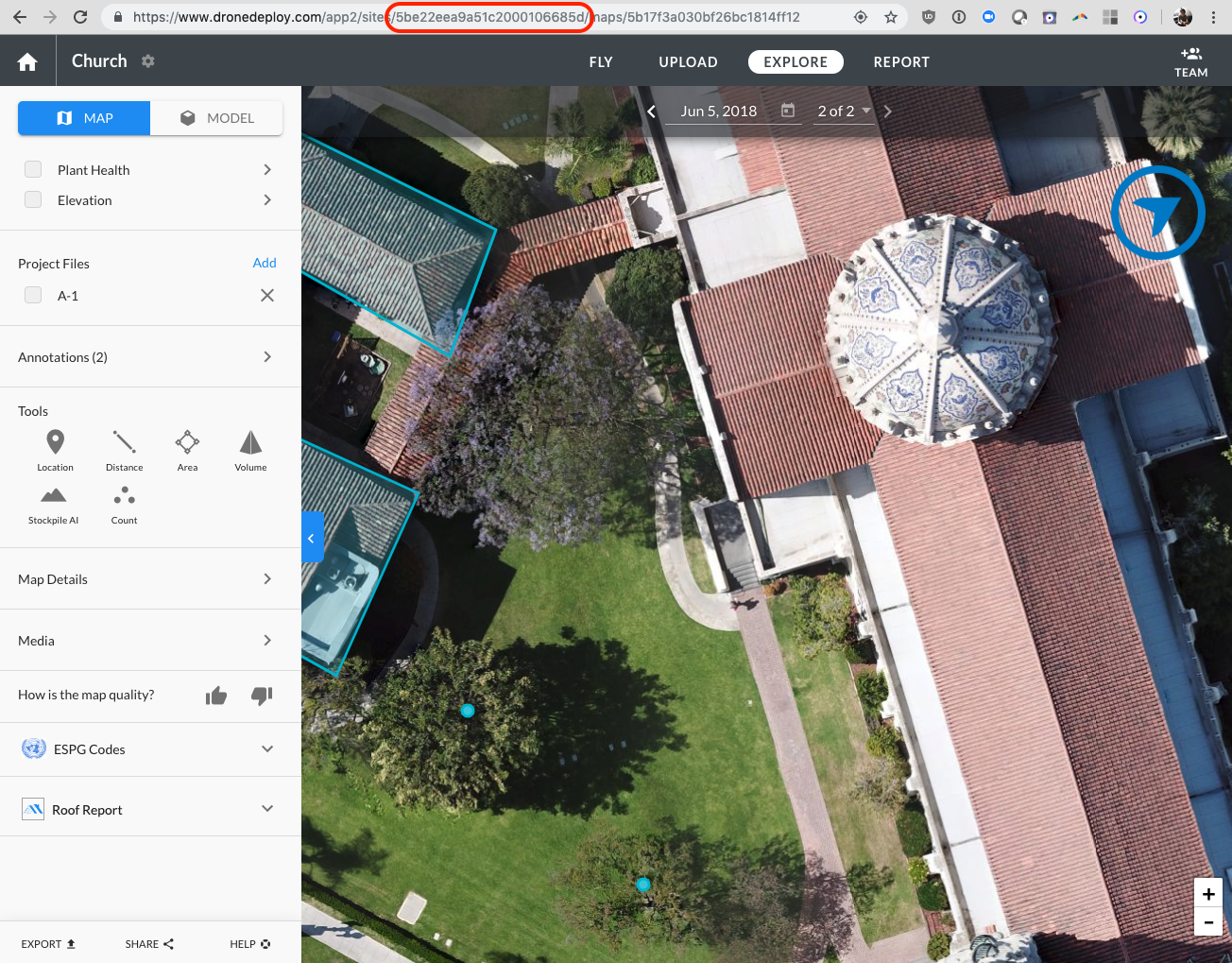 Locate your DroneDeploy project id