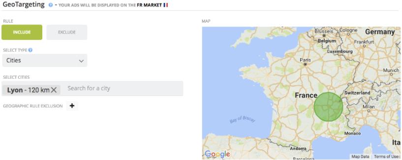 """Exemple de ciblage géographique """"Lyon + 120 km"""""""