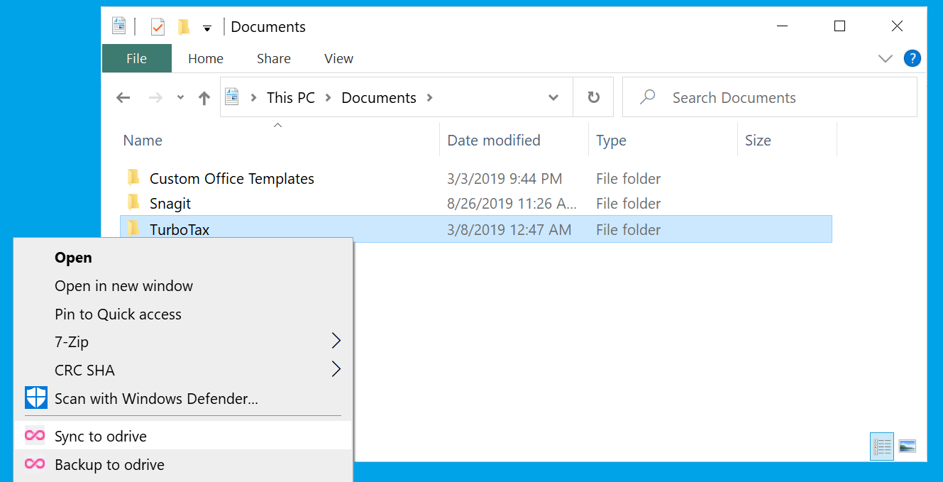 """Right-click on any folder on your computer that you want to use for your direct sync relationship and select the """"Sync to odrive"""" option."""