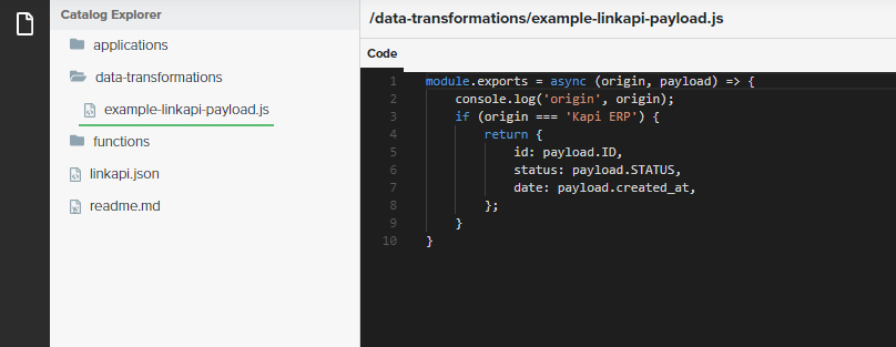 Example of a coded Data-Transformation inside the Catalog Explorer.