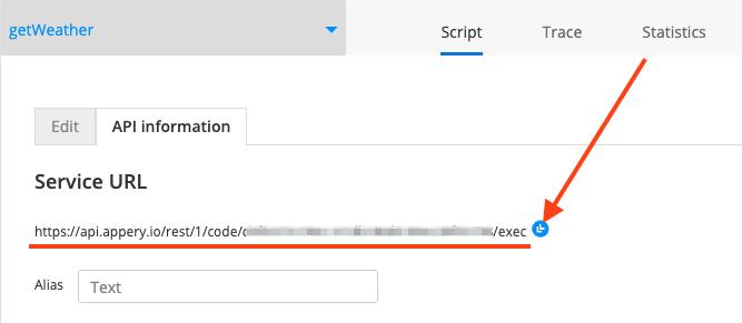 Script service URL