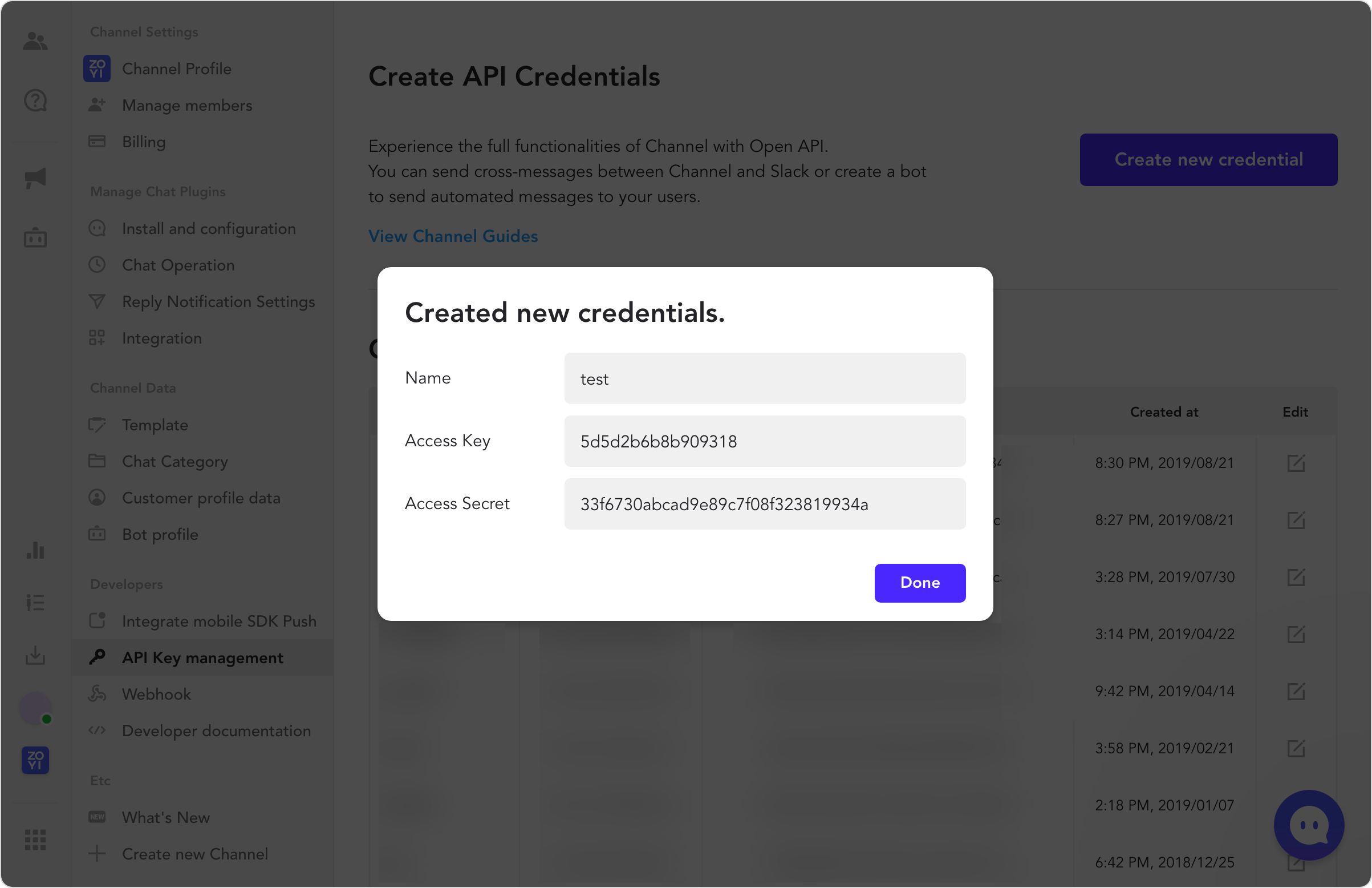 After successfully creating the credentials