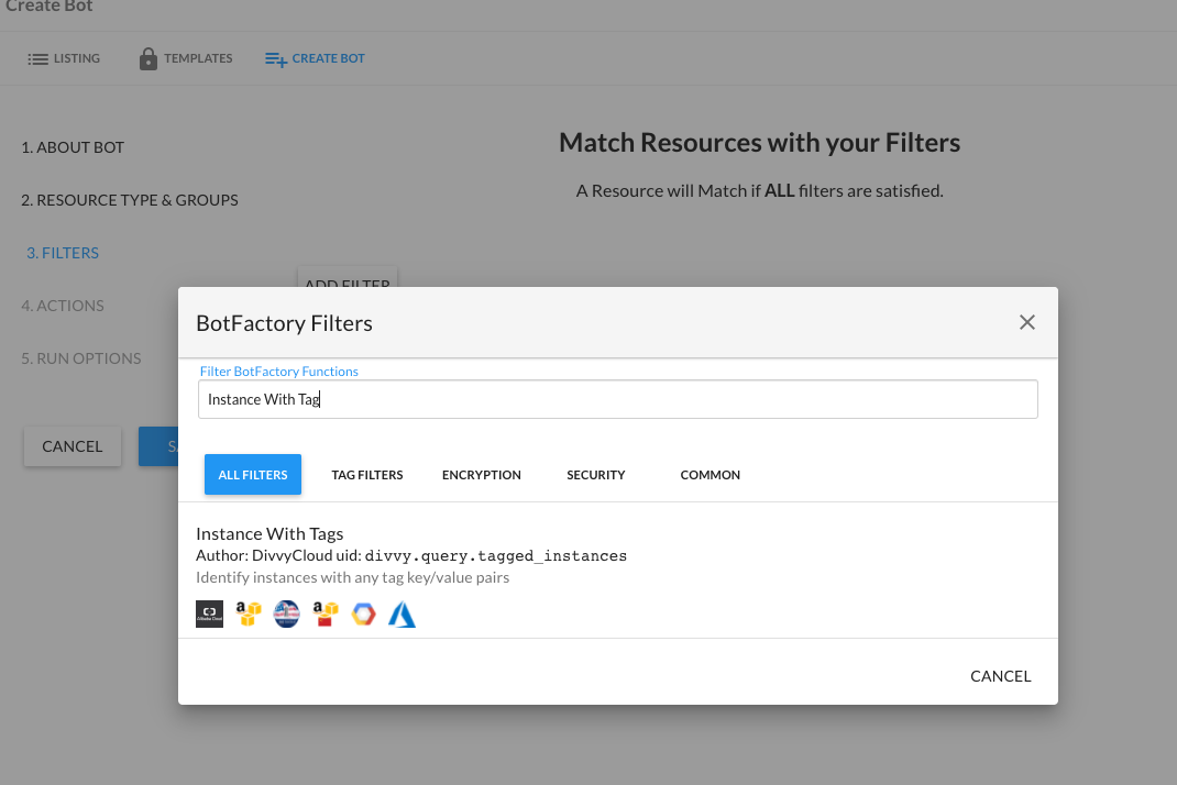 Create Bot - Select Filters
