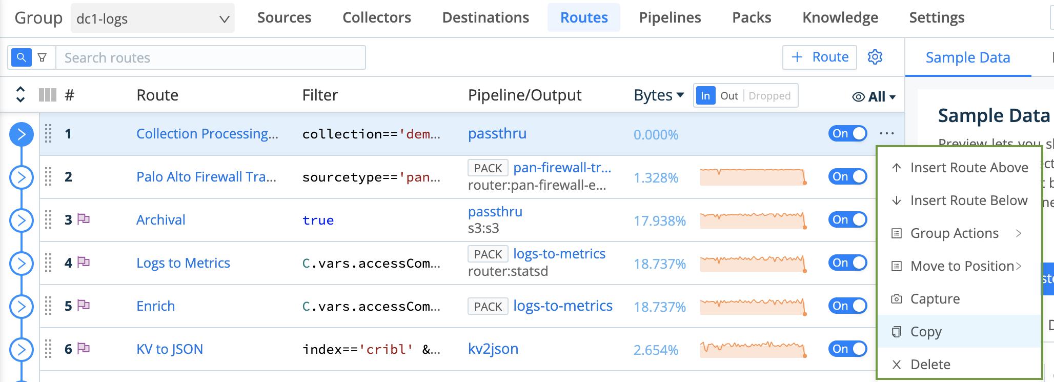 Route > Options menu
